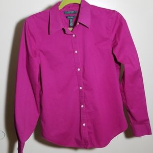 Ralph Lauren, no iron, fuchsia button down shirt
